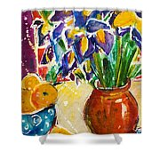Orange Iris Shower Curtain