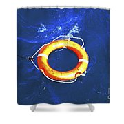 Orange Life Buoy In Blue Water Shower Curtain