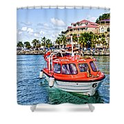 Orange Lifeboats Across Colorful Bay Shower Curtain