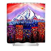 Orange Moon Over Mount Hood #1 Shower Curtain