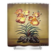 Orange Orchid Flowers Shower Curtain