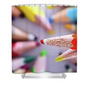 Orange Pencil Shower Curtain