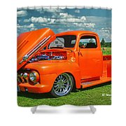 Orange Pick Up At The Car Show Shower Curtain