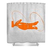 Orange Plane Shower Curtain by Naxart Studio