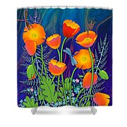 Orange Poppies And Forget Me Nots Shower Curtain