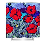 Orange  Red Poppies Shower Curtain