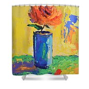 Orange Rose With Yellow Background Shower Curtain