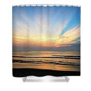 Orange Seas Shower Curtain