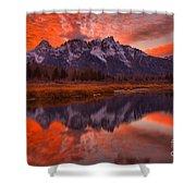 Orange Skies Over The Tetons Shower Curtain