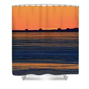 Orange Sky Above The Ice Of Kempenfelt Bay  Shower Curtain