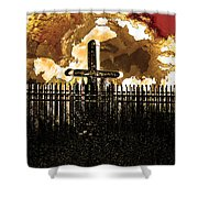 Orange Sky Cross Shower Curtain