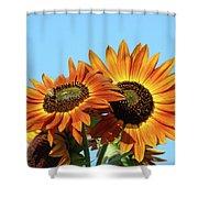 Orange Sunflowers Summer Blue Sky Art Prints Baslee Shower Curtain