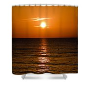 Orange Sunrise Over A Florida Beach Shower Curtain