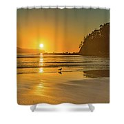 Orange Sunrise Seascape And Beach Shower Curtain