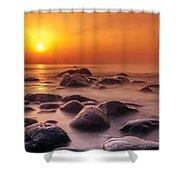 Orange Sunset Long Exposure Over Sea And Rocks Shower Curtain