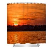 Orange Sunset Sky Island Heights Nj Shower Curtain