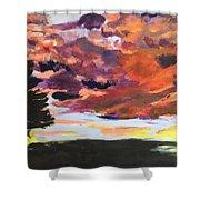 Orange Sunset Spectator Shower Curtain