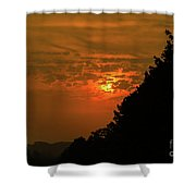 Orange Sunset With Tree Silhouette Shower Curtain