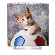 Orange Tabby Kitten With Soccer Ball Shower Curtain