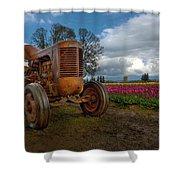 Orange Tractor At Tulip Field Shower Curtain