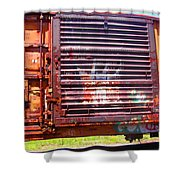 Orange Train Car Shower Curtain