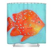 Orange Tropical Fish Shower Curtain