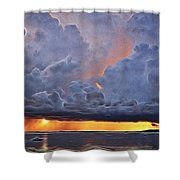 Orange Trouble Shower Curtain