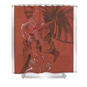 Orange Umbrella Shower Curtain
