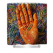 Orange Wooden Hand Holding Paperclips Shower Curtain