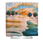 Oranges In The Snow-landscape Painting By V.kelly Shower Curtain