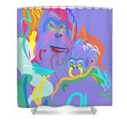 Orangutan Mom And Baby Shower Curtain