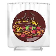 Orchard Crop Harvest Circle Woodcut Shower Curtain