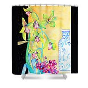 Orchids And Blue Vase Shower Curtain