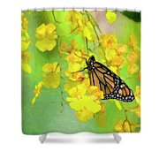 Orchids And Butterfly Painting Shower Curtain