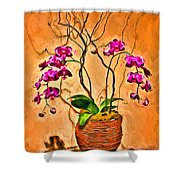 Orchids In Basket Shower Curtain