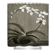 Orchids In Black And White Shower Curtain
