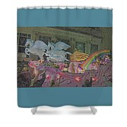 Order Of Polka Dots Emblem Float - Side View - Colored Pencil Shower Curtain