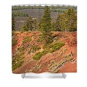 Oregon Landscape - Red Crater Shower Curtain