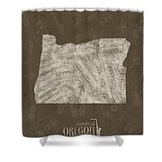 Oregon Map Music Notes 3 Shower Curtain