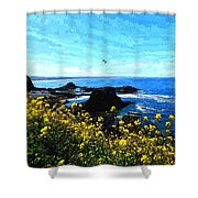 Oregon Wild Flowers Water Color Shower Curtain