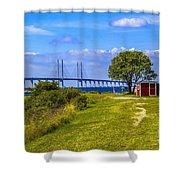 Oresund Bridge With Cabanas Shower Curtain