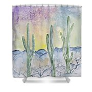 Organ Pipe Cactus Desert Southwestern Painting Poster Print Shower Curtain