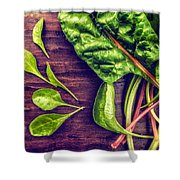 Organic Rainbow Chard Shower Curtain
