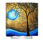 Orginal Abstract Landscape Painting Blue Fire By Madart Shower Curtain