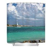 Orient Beach Catamaran Shower Curtain