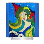 Japanese Mermaid Bubbles  Shower Curtain
