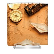 Origami Paper Boats On A Voyage Of Exploration Shower Curtain