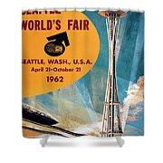 Original 1962 Seattle Worlds Fair Promotion Shower Curtain
