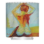 Original Abstract Oil Painting Female Nude Girl On Canvas#16-2-5-06 Shower Curtain