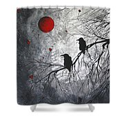 Original Abstract Surreal Raven Red Blood Moon Painting The Overseers By Madart Shower Curtain